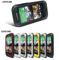 Original Love Mei Powerfull Life Waterproof Aluminum Cover bags Metal Case For HTC ONE M8 Gorilla Glass MOQ:20pcs Free DHL
