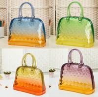 Silicone Handbag New 2014 Candy Color Bag Transparent Jelly Gradual Change Women Handbags