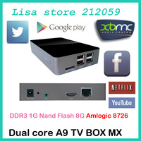 1pcs android tv box Google Android 4.2.2 ARM Cortex A9 Dual Core  DDR3 1GB 8GB  Support bluetooth and wifi google play box