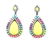 high quality 2014 spring fashion elegant luxury rhinestone big resin yellow stone colorful drop earrings for women party