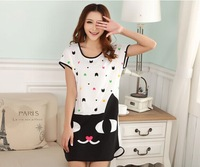 2014 Summer Women Girls Cartoon Cat Short Sleeve Casual Loose Dress