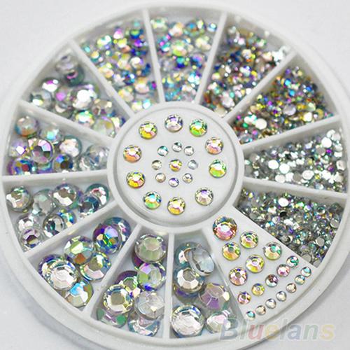 Hot Sale 5 Sizes White Multicolor Acrylic Nail Art Decoration Glitter Rhinestones 1NGM(China (Mainland))