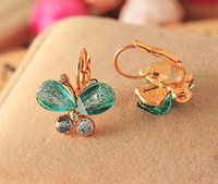 free shipping 2014 summer new fashion Butterfly crystal  Earrings wholesale  NO O14