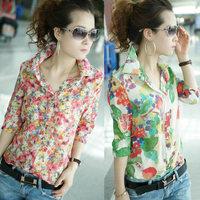 Fit Flower Print Shirt Womens Floral Top Blouse Turn-down Collar Button Colourful Chiffon