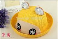 Children's Hats Wholesale Summer Babies Hats Korean Cartoon Confused Bear Ear Edge Sunshade Cap