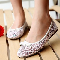free shipping,2014 new arrivals,girl sweet cutout lace net fabric shoes,women flats,shallow mouth shoes,girl summer shoes