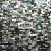 Subway shell mosaic tile kitchen backsplash-black brick iridescent mother of pearl tiles-shower wall-bathroom mirror tub tiles