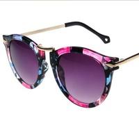 2014 New Fashion floral colorful Mirror Sunglasses Aviator Sunglasses Vintage Eyeglasses glasses Women brand designer Sunglasses