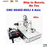 Free ship to Russia, NO TAX! CNC 6040Z-S65J 800W engraving machine (water cooled) CNC milling machine with rotary axis