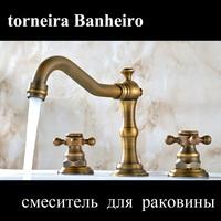 Brass Sink Vantige Antique Bathroom Faucet Handles Basin Mixer Water Tap Deck Mounted Ceramic torneira para pia banheiro lavabo