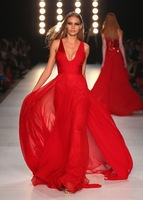 2014 New Arrival Red Color Sexy V Neck Low Cut Chiffon Long Events Evening Dress Women Gown Free Shipping WL281