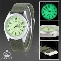 Orkina Military Fashion Green Dial Silver Case Fashion Quartz Fabric Strap Mens Wrist Watch | ORK0081