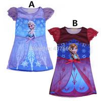 2014 children summer clothes girls girl Anna Elsa Frozen princess short sleeve dress summer dresses in stock