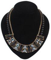 Bib Necklace statement  clear rhinestone  girls metal rectangle Multi-strand chain Geometry Beaded necklace