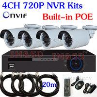 NEWEST CCTV Security H.264 Outdoor Waterproof IR 720P 1.0MP HD IP Network Camera POE NVR Kit Video Surveillance CMS Cloud System
