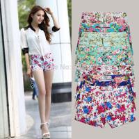 2014  women shorts feminino pantalones cortos women female shorts plus size summer floral shorts elastic waist