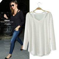 2014 Summer New European and American fashion ladies stand Halter loose cotton T-shirt long-sleeved V-neck pullover t shirt