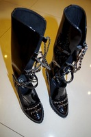 2014 show Perfect Chain boot famous brand boot 100% Genuine patent leather chain Boots
