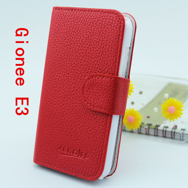 PU leather protective case sleeve mobie phone bags flip cover for Gionee ELIFE E3 with credit card slots 1pcs free shipping(China (Mainland))
