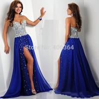 Abendkleider Sweetheart Sexy Slit Chiffon Long Evening Dresses Floor Length Rhinestone Fashion Prom Dresses 2014
