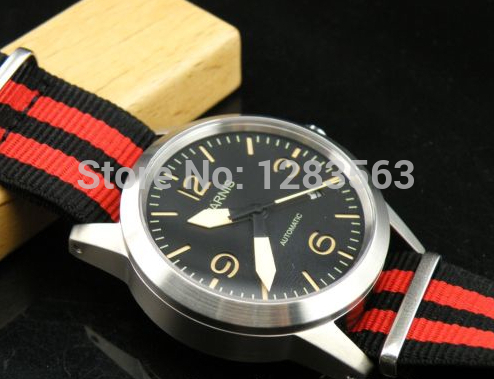 Free Shipping 42mm Parnis nice band brushed case black dial automatic movement men watch(China (Mainland))