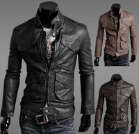 2014 Hot Sale Men's Fashion  PU Leather Jacket coat MJ528-1 M-XXL