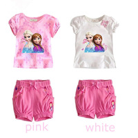 fashion summer children girl clothing set cartoon top + pants baby casual suit twinset