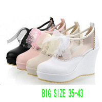 2014 Fashion Footwear Nude Women's Pumps Wedges Shoes Students l Sweet Thick Bottom Platform Sandal Wedge Heels Big Size Shoes