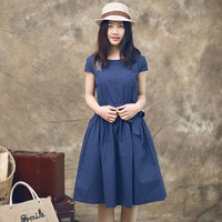 2014 New Arrival Japanese Mori Girl Vintage Dresses Summer Fashion Small Fresh Solid Cotton Linen Short O-Neck Loose Women Dress