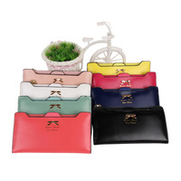 2014 New Style Fashion Ladies Purse Lovely Brief Women PU Long Wallets Bowknot Card Bag Black/White/Blue 8 Colors Optional
