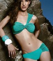 2014 New Arrival One Shoulder Women  Beach Bikinis Padded Wrinkle Swimsuit Lady Beachwear Green S756