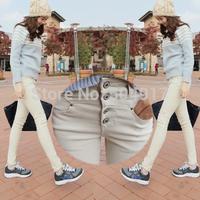 High Waist Slim Pencil pants Beige White Jeans Women Denim overalls For Autumn Winter  Free shipping