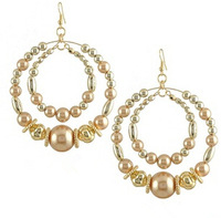 Free Shipping (5 Pairs/ Lot) Stage Outfits Accessories Many Pearls Big Circle Earrings