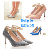 2014 Hot Women Pumps Ladies Sexy Pointed Toe High Heels Fashion Buckle Studded Stiletto High Heel Shoes Big Size 35-43