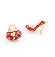 Mother's Day Gift Elegent  Fashion OL Sweet Personality High-Heeled Shoes Bag Asymmetric Earrings#ftbbay_1829