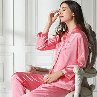 new 2014 silk women pajama sets / elegant embroidery women sleepwear quality nightgown pajamas M L XL Free shipping