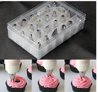 Free Shipping 24pcs set  Icing Piping Nozzles Pastry Tips Cake Cupcake Decorating DIY Tool Box Set #H0382