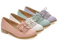 Flat Women  2014 Spring Flat Heel Shoes Bow Tassel Women Ballet Shoes 40 - 44 Plus Size Female Shoes