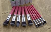 2014 New Pro High Free shipping Quality 10pcs synthetic hair rose pink makeup blending blush powder foundation kabuki brushes