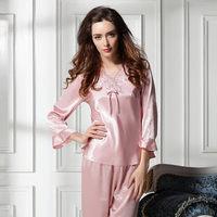 new 2014 silk women pajama sets / elegant embroidery women sleepwear quality nightgown pajamas M L Free shipping