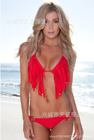 Two-piece swimwear Polyester freeshipping new arrival new arrival hot sale 2014 summer new sexy bikini swimwear triangle tassel