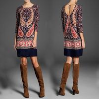 2014 New Autumn winter Elegant Women's Plus size Flower Dresses 3/4 Sleeve Slim crewneck vintage Palace Floral print Dress
