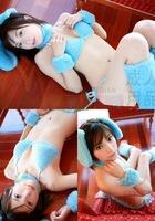 Free shipping Blue Pink Sexy Downy Bunny Girl Underwear Set Costume with Rabbit Ear Bra G-string Neck Belt Wrist Belt Leg Belt