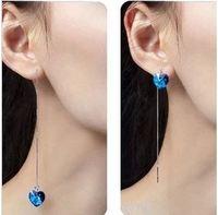 (4pairs/lot) Korean Style 925 Sterling Silver Earring Heart Of Ocean Blue Crystal Love Tassel Drop Earring Jewelry For Hot Sale