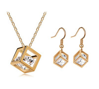 New!  Gold Plated Cubic Frame with CZ Diamond Inside Earrings and Necklace Set