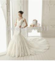 Handmade-v-neck tulle lace wedding dresses sleeveless crystal appliques bridal dresses a-line sweep train wedding dresses