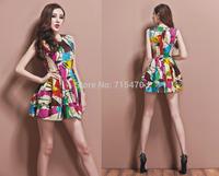 Hot Sexy Ladies Celebrity For Graffiti Multicolor Bodycon Tunic Stretch Dress Tops