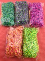 100packs loom eight rubber band  tie dye  loom weaving rubber band bracelets