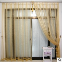 new 2014 window screening crumple golden striped modern style tulle curtains sheer curtains decoration  wholesale  free shipping