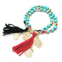 Lucky bracelets gold turquoise beads hamsa evil eye pendant bracelets